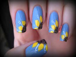 freehand cloud design nail art tutorial sunflower nail art tutorial nails art ongles pinterest