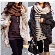 cozy winter ahhhh the big sweaters and big scarves