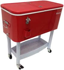 Trinity Stainless Steel Cooler With Shelf by Amazon Com Beacon Rolling Party Cooler Red Steel With Metal