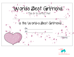 free printable world u0027s best girlfriend certificates