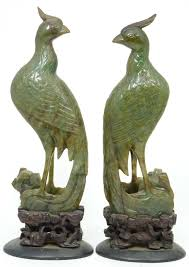 bird figures pair of antique chinese hand carved spinach jade perched phoenix