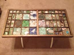 beach glass shadow box coffee table sea glass pinterest