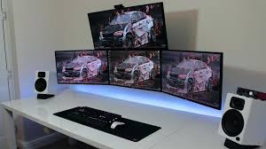 Big Computer Desk Coolest Computer Desk Best Three Monitor Design Gaming Room Office