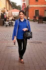 women u0027s blue leather jacket blue dress shirt black leather