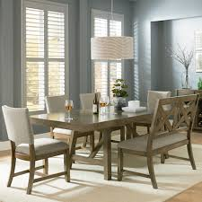 6 piece trestle table dining set with dining bench by standard