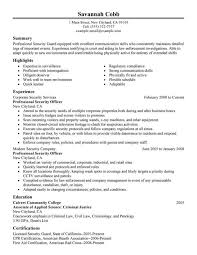 show me a resume exle resume templates resume for a security officer best exle