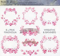 get 4 for 3 magnolia flower wreath u0026 banner clip art pink