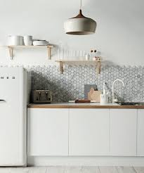 unusual kitchen backsplashes look a polygon marble tile backsplash kitchn