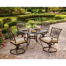 5 Pc Patio Dining Set Traditions 5 Dining Set With Swivel Chairs And Umbrella