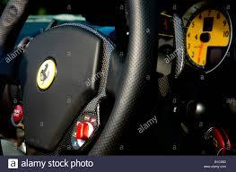 ferrari steering wheel ferrari f430 f1 spyder steering wheel and dash stock photo