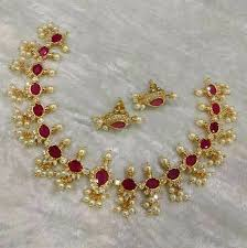 white stone gold necklace images Beautiful necklace in red stones in oval shape with white stones jpg