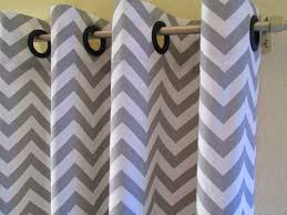 blue chevron curtains grey white u0026 blue half chevron window