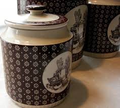 ceramic kitchen canister sets vintage 1978 country kitchen by