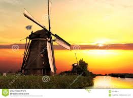 kinderdijk sunset wallpapers house and the giant of netherlands stock photo image 57976374