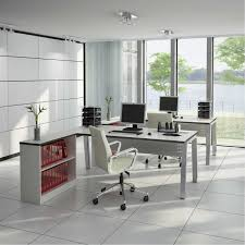modern home office design with terrazzo flooring
