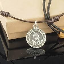 medallion necklace silver images Saint florian choker brown leather necklace silver medallion men 39 s jpeg