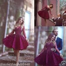 burgundy lace long sleeve short pageant party prom dresses
