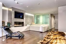 indoor fireplace ideas with ultra modern bathroom interior design