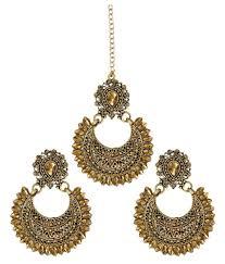 earing image zaveri pearls ethnic chandbali earring with maang tikka zpfk6087
