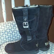 s ugg black leather 66 uggs shoes beautiful black zip up uggs s n 5195 sz 6 to