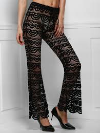 sexy color black l sexy lace see through solid color pants for women