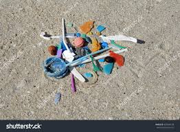 micro plastic fragments sand beach stock photo 333564128
