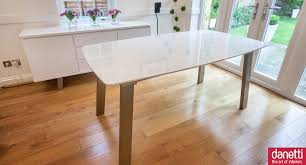 White Gloss Dining Room Table by Assi White Gloss Extending Dining Table Brushed Metal Table