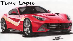 ferrari laferrari sketch ferrari f12berlinetta drawing time lapse youtube