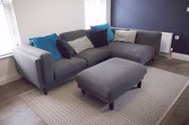 Dark Grey Corner Sofa With Footstool Excellent Condition In - Sofa and footstool