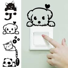 compare prices on light wall dog online shopping buy low price nc 4 pcs funny cute cat dog panda adhesive wall light switch furniture stickers decal bedroom