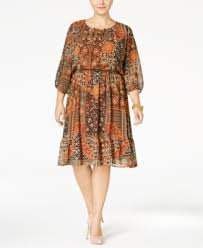 ny collection plus size printed maxi peasant dress dresses