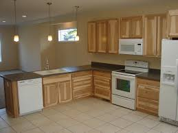 cool pale brown color hickory kitchen cabinets come with double