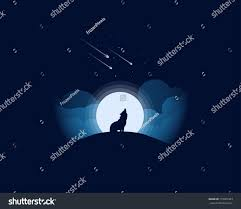 wolf howling full huge moon clouds stock vector 719905363