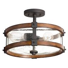 kitchen ceiling lights lowes shop kichler barrington 14 02 in w distressed black and wood seeded