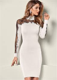 sweater dress lace detail sweater dress in white black venus