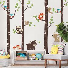 Brown Tree Wall Decal Nursery Birch Trees With Forest Animals Woodland Nursery Wall