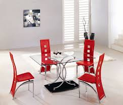 red dining room sets cheap round glass dining table and red chairs