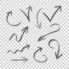 hand drawn arrow set icon collection of pencil sketch symbols