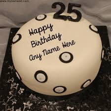 write name on 25th birthday greetings cake image wishes greeting