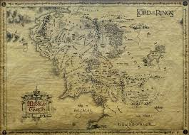 map of the lord of the rings of the rings parchment map poster