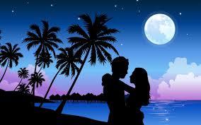 wallpaper of couple wallpaper couple beach palm trees sky night hugs 1680x1050
