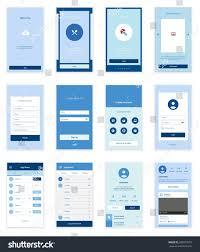 mobile screens user interface kit modern stock vector 300079553