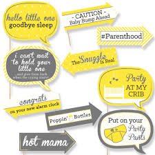 funny hello little one yellow and gray baby shower photo booth