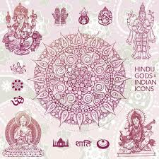hindu gods illustrations and indian ornaments vector vintage