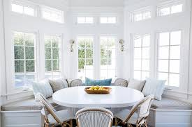 Bay Window With Built In Dining Bench Transitional Dining Room - Dining room with bay window