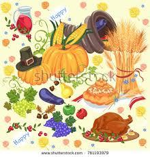 harvest set organic foods like fruit stock vector 761193976