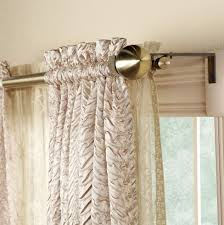 decorating unique double curtain rod brackets with brown and
