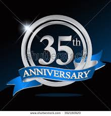 35 year anniversary 35th anniversary logo with blue ribbon 35 years anniversary signs
