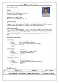 Career Objective For Resume Mechanical Engineer Veeranagouda Resume 05061992