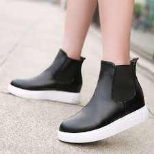 Comfortable Shoes For Girls 2015 Fashion Flat Low Heeled Round Toe Platform Patchwork Chelsea